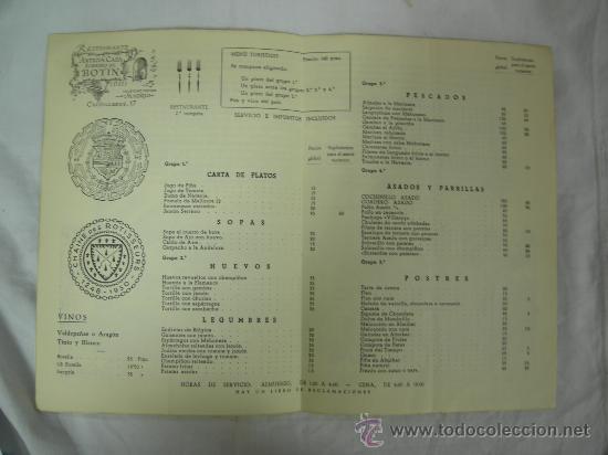 Carta con menu y platos con precios del restau comprar for Platos precios