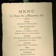 Coleccionismo: MENÚ CENA HOTEL MADRID, SEVILLA, 1888. Lote 28697984
