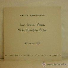 Coleccionismo: TARGETA DE INVITACION DE BODA. RTE. CABAÑA. PISCINA DE LA GARRIGA.1982. Lote 28760123