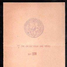 Coleccionismo: 1892. VI CENTENARIO DEL NACIMIENTO DEL NUEVO MUNDO.MENU BANQUETE QUE OBSEQUIA A LA MARINA. SEVILLA. . Lote 28842304