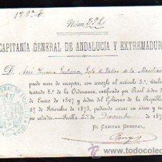 Coleccionismo: LICENCIA DE ESCOPETA. 1873. LICENCIA DE CAZA. SEVILLA. CAPITANIA GENERAL DE ANDALUCIA Y EXTREMADURA.. Lote 28843670