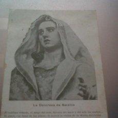 Coleccionismo: TARJETA RELIGIOSA LA DOLOROSA DE SALZILLO VIRGEN DOLORES ALCANTARILLA MURCIA CARIDE Y ALEMAN 1940. Lote 29202398