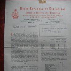 Coleccionismo: UNION ESPAÑOLA DE EXPLOSIVOS,BOLETIN INFORMATIVO AÑO 1956.Nº 50.MURCIA.. Lote 29818796