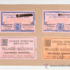 Coleccionismo: LOTE DE CUATRO ENTRADAS DE LA EXPOSICIÓN INTERNACIONAL DE BARCELONA 1929. Lote 29887332