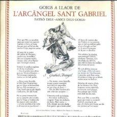 Coleccionismo: GOIGS A LLAOR DE L'ARCÀNGEL SANT GABRIEL, PATRÓ DELS AMICS DELS GOIGS (1976). Lote 30259474
