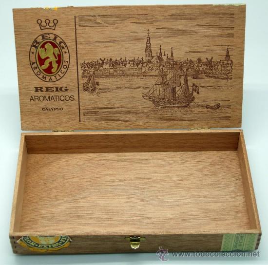 Coleccionismo: Caja puros Reig aromáticos Calypso madera - Foto 4 - 30629960