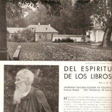 Coleccionismo: HOJAS REPORTAJE.AÑO 1935.LEON TOLSTOI.YASNAIA POLYANA.FRANÇOIS PORCHE.LITERATURA.ESCRITOR.. Lote 30740884