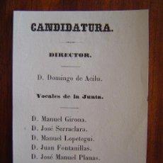 Coleccionismo: CANDIDATURA AL GRAN TEATRO DEL LICEO - BARCELONA - SIGLO XIX - DOMINGO DE ACILU , MANUEL GIRONA ETC. Lote 30747001