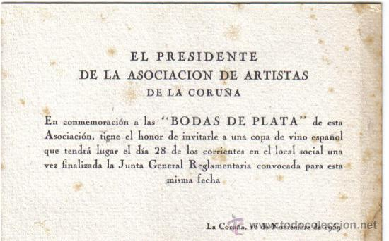 Tarjeta Invitacion A Las Bodas De Plata De La Asociacion De La Coruña 1959