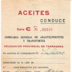 Coleccionismo: AUTORIZACION TRANSPORTES ACEITES AÑO 1958 SERIE C ABASTECIMIENTOS Y TRANSPORTES. Lote 30861320