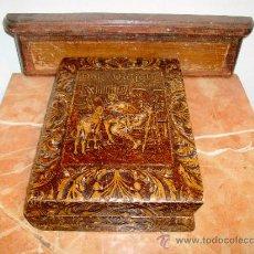 Coleccionismo: TABAQUERA EN CUERO REPUJADO- EL QUIJOTE-. Lote 30904510