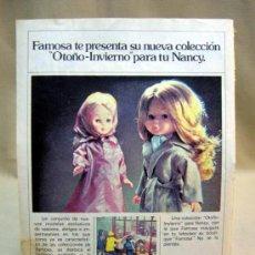 Coleccionismo: HOJA PUBLICITARIA, NANCY, FAMOSA, COLECCION OTOÑO INVIERNO. Lote 31085866