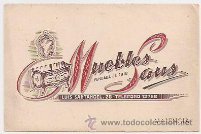 VALENCIA. TARJETA PUBLICITARIA DE MUEBLES SANS (Coleccionismo - Laminas, Programas y Otros Documentos)