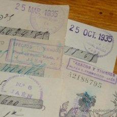 Coleccionismo: EXPENDEDURIAS DE TABACOS Y TIMBRES DE JAEN. SELLOS AÑOS 30.. Lote 31020410