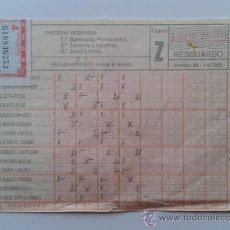 Coleccionismo: RESGUARDO QUINIELA DE FUTBOL - 4 APUESTAS - JORNADA 40, 1-6-1980. Lote 31142463