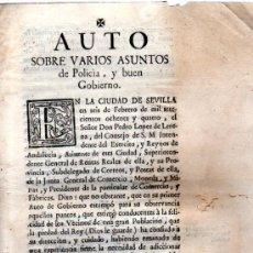 Coleccionismo: AUTO SOBRE VARIOS ASUNTOS DE POLICÍA Y BUEN GOBIERNO, SEVILLA, 1784. Lote 31332946