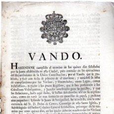 Coleccionismo: VANDO REITERANDO LAS OPERACIONES DEL REPARTIMIENTO DE LA ÚNICA CONTRIBUCIÓN, SEVILLA 1765. Lote 31333368