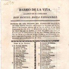 Coleccionismo: BARRIO DE LA VIÑA, COMISARIO MANUEL MARÍA F. PASA LISTA A VECINOS PARA QUE ELIJAN VOCALES,CÁDIZ 1819. Lote 31362383