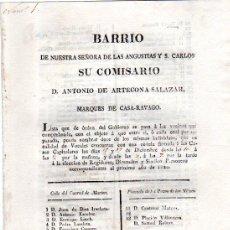 Coleccionismo: BARRIO NUESTRA SRA. ANGUSTIAS Y S.CARLOS,COMISARIO ANTONIO ARTECONA,LISTA VOCALES, CÁDIZ 1819. Lote 31362493