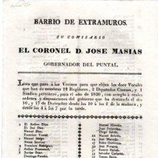 Coleccionismo: BARRIO DE EXTRAMUROS,COMISARIO CORONEL JOSÉ MASIAS,LISTA VOCALES, CÁDIZ 1819. Lote 31362561