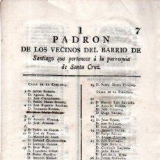 Coleccionismo: BARRIO DE SANTIAGO,PARROQUIA DE SANTA CRUZ, LISTA VOCALES, CÁDIZ 1821. Lote 31363209
