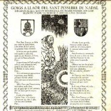 Coleccionismo: GOZO GOIGS A LLAOR DEL SANT PESSEBRE NADAL SANT PERE DE PUEL.LES. Lote 31513523
