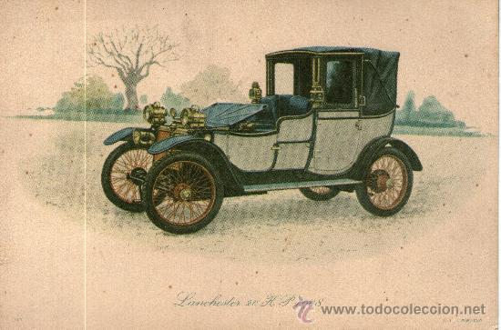 DIBUJO COCHE TIPO POSTAL LANCHESTER 20 HP 1908 (Coleccionismo - Laminas, Programas y Otros Documentos)