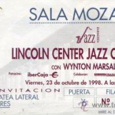 Coleccionismo: LINCOLN CENTER JAZZ ORCHESTRA CON WYNTON MARSALIS ENTRADA SALA MOZART ZARAGOZA 1998. Lote 31583521