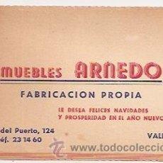 Coleccionismo: VALENCIA: TARJETA COMERCIAL DE MUEBLES ARNEDO. Lote 31621371