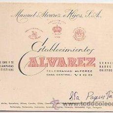 Coleccionismo: TARJETA COMERCIAL DE ESTABLECIMIENTOS ALVAREZ. VIGO. Lote 31621437