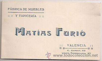 TARJETA COMERCIAL DE MUEBLES (VALENCIA) (Coleccionismo - Laminas, Programas y Otros Documentos)
