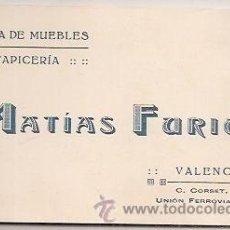Coleccionismo: TARJETA COMERCIAL DE MUEBLES (VALENCIA). Lote 31621497