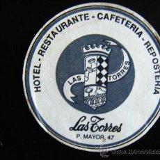 Coleccionismo: POSAVASOS HOTEL RESTAURANTE CAFETERIA REPOSTERIA LAS TORRES. P. MAYOR 47.. Lote 31781936