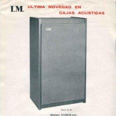 Coleccionismo: ELECTRONICA, HOJA PUBLICITARIA INDUSTRIAS DE MUEBLE I.M. - CAJAS ACUSTICAS. Lote 31790894
