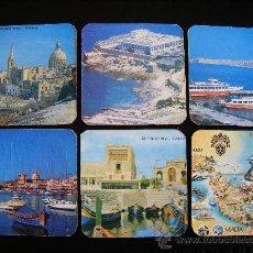 Coleccionismo: LOTE 6 POSAVASOS MALTA. POSTAL ANTIGUA MALTA. . Lote 31799772