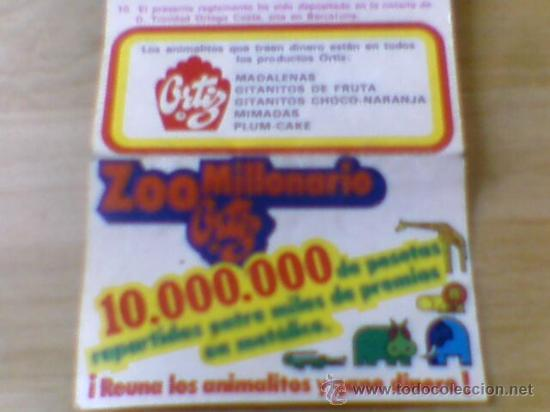 Coleccionismo: Reglamento y cupon pastelitos Ortiz año 72 - 73 Zoo Millonario - Foto 3 - 31906846