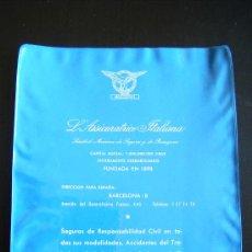 Coleccionismo: FUNDA PLÁSTICA DE S.A. SEGUROS Y RESEGUROS. L´ASSICURATRICE ITALIANA. BARCELONA. AVDA. GENERALISIMO . Lote 32030208