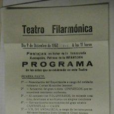 Coleccionismo: PROGRAMA DE TEATRO FILÁRMONICA, 1952. Lote 32131107