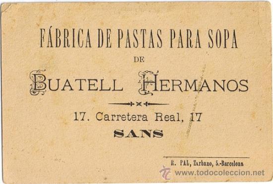 Coleccionismo: ANTIGUA TARJETA PUBLICITARIA BUATELL HERMANOS - SANS - BARCELONA - Foto 2 - 32211190