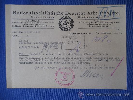 DOCUMENTO ORIGINAL ALEMANIA WW2 100 %100 AUTÉNTICO NSDAP (Coleccionismo - Varios)
