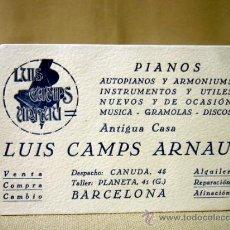 Coleccionismo: TARJETA PUBLICITARIA, PIANOS, LUIS CAMPUS ARNAU, BARCELONA. Lote 32368465