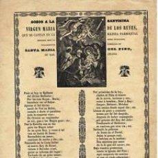 Coleccionismo: GOZOS VIRGEN MARIA DE LOS REYES-C.1920-BARCELONA IMP-H VDA PLA-BARCELONA- FOLIO-. Lote 32450299