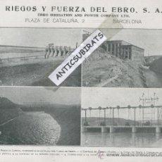 Coleccionismo: HOJA PUBLICITARIA.AÑO 1915.FOTOS ANTIGUAS.CANAL DE SEROS. CENTRAL HIDROELECTRICA DE AITONA.AYTONA.. Lote 32503483
