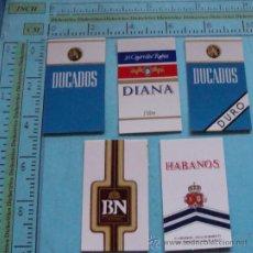Coleccionismo: LOTE 5 PEGATINAS DE TABACO. CAJAETILLAS DUCADOS, DIANA, BN, HABANOS. CIGARRILLOS. . Lote 32550578