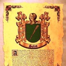 Coleccionismo: LAMINA DEL ESCUDO HERÁLDICO DEL APELLIDO ´SALES´ ***NUEVA***. Lote 33056752