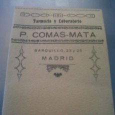 Coleccionismo: ANTIGUA CARTERITA PUBLICITARIA FARMACIA Y LABORATORIO COMAS - MATA BARQUILLO MADRID. Lote 32827794