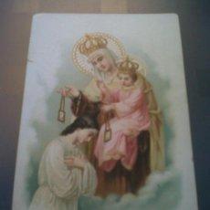 Coleccionismo: ANTIGUA ESTAMPA RELIGIOSA EL ESCAPULARIO LE SCAPULAIRE FABRICA DE CORBATAS GUANTES MAYOR MADRID. Lote 32828092