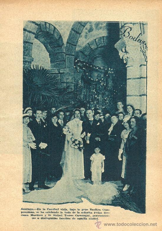 * BODA * ENLACE SRTA. FELISA BESCANSA MARTÍNEZ – D. RAFAEL TORRES CARRANQUE EN SANTIAGO - 1934 (Coleccionismo - Laminas, Programas y Otros Documentos)
