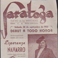Coleccionismo: PROGRAMA SALA DE FIESTAS SARATOGA. Lote 32924614