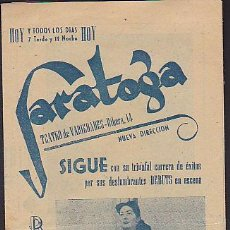 Coleccionismo: PROGRAMA SALA DE FIESTAS SARATOGA. Lote 32924628